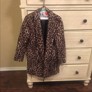 Long blazer leopard print